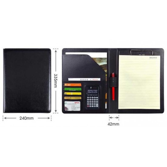 Padfolio A4 PU Leather Multi-function Organizer Planner with Clipboard