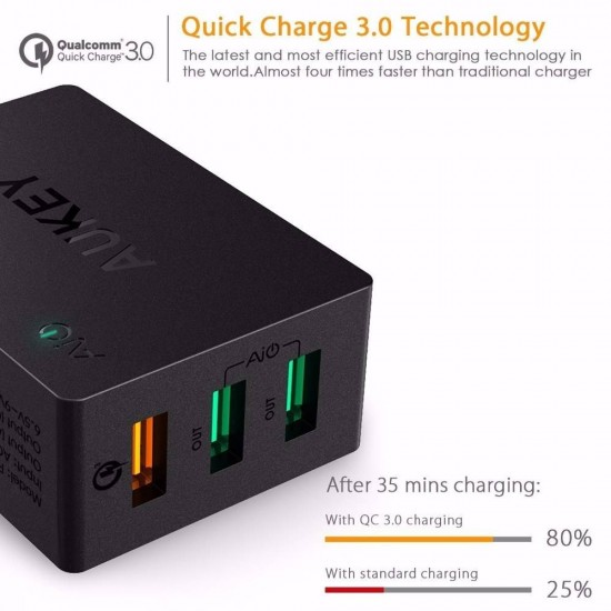 AUKEY Qualcomm Quick Charge 3.0, 2.0 3 Ports USB Wall Charger with Micro USB Cable