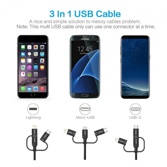 Choetech 3-in-1 Micro USB / Type C / Lightning Cable