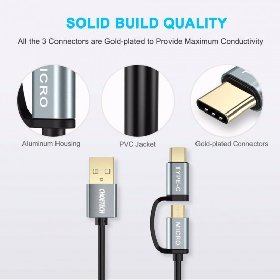 CHOETECH 2 in 1 Micro USB & Type C Cable