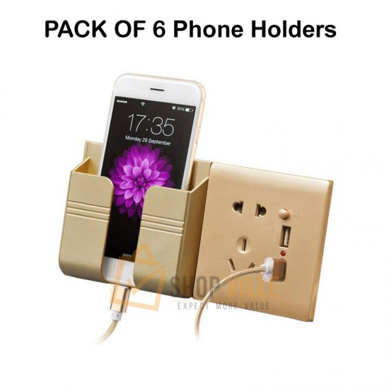 Mobile Phone Wall Mounted Holder For Charging Hanging Socket Golden - Pack of 6