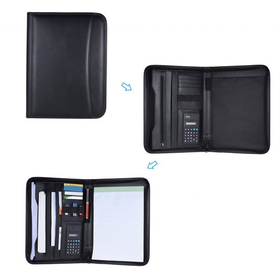 Professional A4 Leather Business & Student Padfolio Zippered
