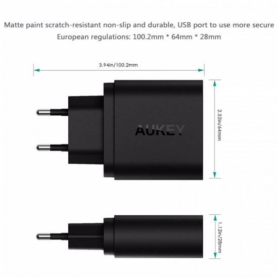 AUKEY Qualcomm Quick Charge 3.0 2 USB Ports Wall Charger 34.5W